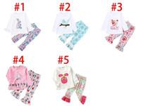 Dia de Páscoa Bebés Meninas Outfits Ruffle luva Coelho Tops + florais 2pcs Imprimir Pant jogo mola queda roupa da criança de luxo