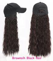 KINKY CYRLY CAP WIGS القبعات قبعة سوداء اللون البني مجعد الشعر الاصطناعية قابل للتعديل القبعات النسائية متموجة الشعر الأسود كاب الكل في واحد وأنثى كاب البيسبول
