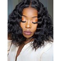 Cheveux humains ondulés courts 360 pleines perruques de dentelle pour femme noire 150% brésiliens vierge 13x6 dentelle frontale perruques sans colle perruques Bob court