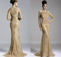 2020 Cheap Gold Champagne Mermaid Evening Dresses Full Lace Appliques Beaded Jewel Neck Long Sleeves Formal Evening Gowns Prom Pageant Dress