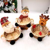 حلوى عيد الميلاد سلة التخزين سانتا كلوز عيد الميلاد الديكور ديكورات الخيزران عيد الميلاد للأطفال هدية حامل سلة حلوى الحاويات