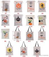10PCS هالوين أكياس قماش كبيرة القطن حقيبة الرباط مع القرع، الشيطان، العنكبوت، وسائد هالووماس هدايا كيس دي إتش إل الحرة الشحن