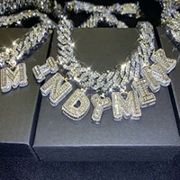Hip Hop Individuelle Cuban Link Charmed Namenskette Baguette Brief 14mm Halskettenhalskette 18inch Cuban Kette Zirkonia Schmuck