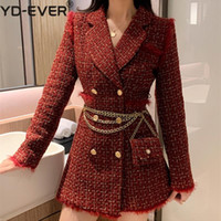 Le donne Red Tweed Plaid Blazer d'Oro Doppio Petto Giacca lungo spesso di lana del cappotto del vestito Fall Winter Outerwear con catena Belt Bag