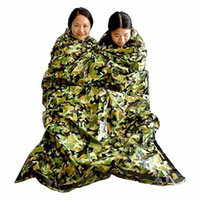 Camuflaje Supervivencia Saco de dormir de emergencia Mantener caliente Impermeable Mylar Primeros auxilios Manta de emergencia Camping al aire libre LJJM1884