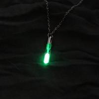 Collar de reloj de arena Colgante de vidrio Resplandor en el collar oscuro Cadena de plata Joyería luminosa Mujer regalos GEM Accesorios