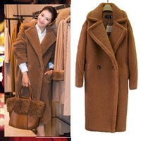 Teddy Bear Overcoat Faux Casaco de pele de inverno grosso casaco de pele de carneiro quente para mulheres bolsos longos Plus size outwear de pelúcia feminina