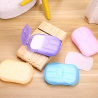 Fogli di lavaggio del sapone di corsa della carta a mano del sapone di bagno Fiocchi profumata fetta di schiumatura scatola di carta usa e getta di viaggio 4 colori all'ingrosso LQP-YW2886