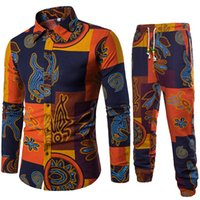 2 Piece Set Men' s Large Size 5XL Men Long Sleeve Tops &...