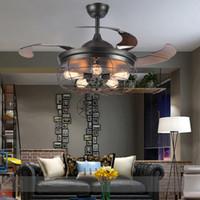 LED E27 Loft Akrilik Paslanmaz Çelik Tavan Çekilebilir Fan Lambası Tavan Işıkları. Kırmızı ışık. Lobi Mağazası için Tavan Lambası