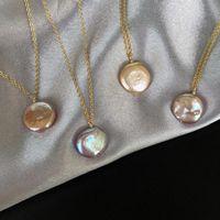 المجوهرات S925 الفضة الاسترليني قلادة الباروك قلادة اللؤلؤ 14K قلادة من الذهب مطلي للنساء الأزياء الساخن