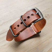 1pcs 20MM 22MM 24MM Nato Strap Genuine Leather Yellow Brown ...