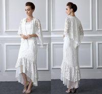 2 pièces dentelle de dentelle de la mariée costume à manches longues gaine haute taille plus taille maigre robe de mère avec manteau robes de soirée pas cher