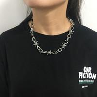 친구 Collares에 대한 와이어 목걸이 여성 힙합 펑크 스타일 철조망 링크 체인 초커 선물