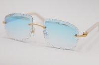 Vendita all'ingrosso di vendita di alta qualità 8200762 Occhiali da sole senza montatura Donne 18 carati in metallo oro 18 carati Eyeglasses Unisex grigio rosso nero intagliato lente