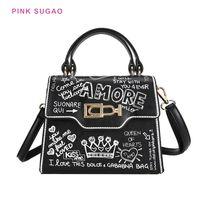 Pink Sugao Женщины Tote Сумка Дизайнерская Сумка для плеч Граффити Сумки 2020 Новая Мода Сумка Облигатор Дикая Сумочка PU Кожа BHP