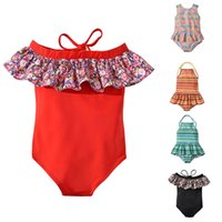 Children Striped Floral print Swimwear 2019 summer ruffle of...