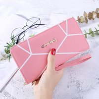 2019 new geometric design solid color with long purse ladies...