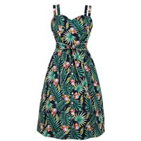 Donne Lychee Tropical Leaf Vintage Dress Double Strap Palm Abito retrò a matita con tasca cintura Pin up Button Casual Party