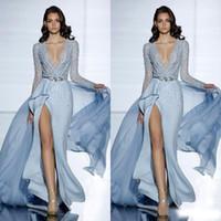 Ver a través de Sexy Zuhair Murad Mermaid Vestidos de noche con mangas largas Vestido de fiesta formal Cristales Azul Alto Split Belsts Belsts