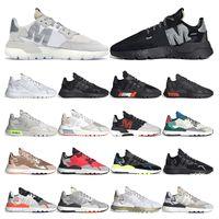 nite jogger الاحذية عاكس للرجال والنساء ثلاثية أسود أبيض تنفس أحذية رياضية مدربة رياضية مقاس 36-45