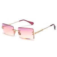 Retângulo pequeno óculos de sol mulheres sem aro quadrado óculos de sol para as mulheres 2019 estilo do verão feminino uv400 verde marrom