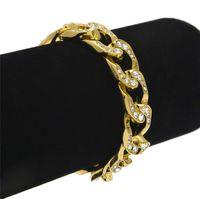 Ouro Totalmente fora congelado Hip Hop Bracelet Mens Miami cubana pulseira Simulado Bling Pedrinhas Moda Bangles Femininos