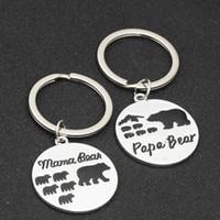Carta llavero creativa Mamá Osa Moda Papa metal del oso Llaveros Familia aleación titular de la clave LJJ_TA1177 joyería de los pares
