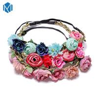 Faixa da menina flor M mismo Moda Crown casamento Boho Headpiece Headband Cabelo grinalda da flor grinalda Headband Floral Cabelo Guirlandas