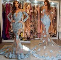 Elegante Ghiaccio Blue Off Sirena Sirena Abiti da sera Abiti di pizzo Appliques Manica lunga Sweep Train Prom Party Gown BC1564