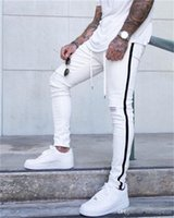 Mens New Ripped Jeans Spring Autumn Fashion Street Striped P...