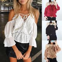 2019 nueva moda de las señoras de encaje verano Off-hombro de tiras camisa del hombro frío remata la blusa calientes de la venta riza las blusas ropa