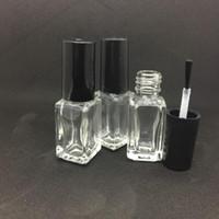 5ml Platz Glas leere Flasche mit Pinsel Transparent-Verfassungs-Werkzeug-Nagellack-Container löschen Glas Kleber Flasche Für die Probe 100