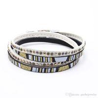 Hot sell fashion leather bracelet women leather wrap bracelets Retro multi-layer diamond studded bracelets free shipping