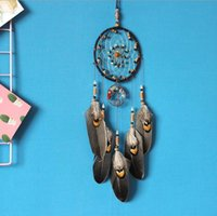 Dreamcatcher Wind Chimes hecho a mano nórdica del colector del sueño neto con las plumas Cuentas de la pared cuelgan Dreamcatcher regalo del arte la decoración del hogar