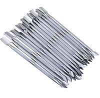 2釘アートツールステンレス鋼の必須キューティクル2方向スプーンプッシャーマニキュアキューティクルプッシャー500ピースRRA1687