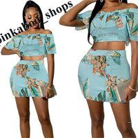 Yaz Kadın Çiçek Eşofman Kolsuz Gömlek Mahsul Tops ve SHort Mini Etek İki Adet Elbise Seti Clubwear Beachwear Parti Kumaş LY401