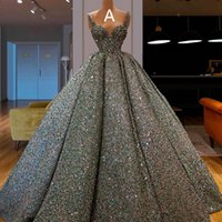 Sweetheart Ball Gown Prom Dresses 2020 Sequined Long Ruffle ...