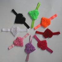 50 adet 7 cm şifon kızlar, bebek saç aksesuarları çiçek için unfrayed rozet kalp saç bandı çiçekler, yürümeye başlayan saç bantlarında, seçim için 8 renk