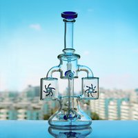 Double Bottle Glass Bong Dab Rig Water Pipes Thick Bowl Recy...