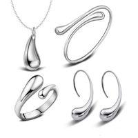 925 Silber Überzogene Wassertropfen Armreifen Armband Halskette Ringe Ohrringe Sets Hochzeit Brautschmuck Sets Für Frauen Weihnachtsgeschenk