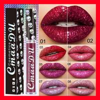 Neue CmaaDu Cosmetics Laser Schädel Glitter Flip Lipgloss Metall Lipgloss Shinning Metallic Lippenstift 8 Farben Lippen Make-up