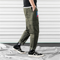 남성 바지 주머니화물 하렘 바지 망 캐주얼 조깅 헐렁 리본 전술 바지 Harajuku Streetwear 힙합 바지