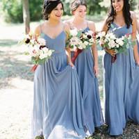 Diseño simple Correas de espaguetis Vestidos de dama de honor de gasa Maid of Honor Vestido para bodas Hecho a medida