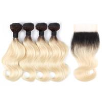 1b613 Ombre Blonde Body Wave Bundles de cheveux avec fermeture 50g / paquet 10-12 pouces Court Bob Style 4 Bundles Remy Brésilien Remy Extensions de cheveux humains