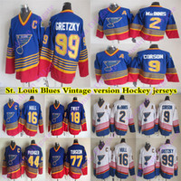 dos homens St Louis Blues CCM Vintage jerseys 99 Gretzky 16 HULL 9 corson 2 MacInnis 44 Pronger 18 TWIST 77 TURGEON Hockey Jersey