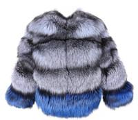 La marca de lujo de plata Maomaokong azules color de costura piel de zorro abrigos de piel de las mujeres de la empanada caliente del invierno de manga larga vence parkas