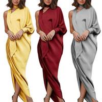 Design Sukienka Jesień One-Bore Batwing z długim rękawem Wstążka wokół szyi Eleganckie kobiety Party Robe Saree Style Sukienka