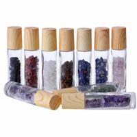 Ezilmiş Doğal Kristal Kuvars Taş Merdane Topu Tahıl DIY Cap FFA3120C ile Parfüm Şişeleri üzerinde Esansiyel Yağı Yayıcı Net Cam Rulosunu 10ml