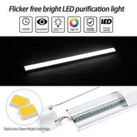 LED 90CM faixa de luz três lâmpada anti-purificação candeeiros de tecto suporte integrado escritório lâmpada lâmpada fluorescente à prova de poeira bar lâmpadas